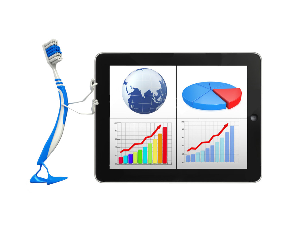 Cartoon Character of toothbrush with Business graph